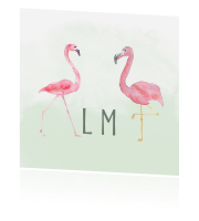 Label kaartflamingo trouwhuisstijl Tropical Summer