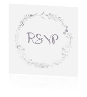 RSVP kaartje in trouwhuisstijl whimsical white