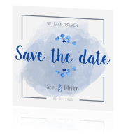 Save the date kaart huisstijl blue spring watercolor