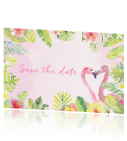 Save the date kaart flamingo huisstijl Tropical Summer