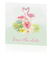 Save the date kaart flamingo trouwhuisstijl Tropical Summer