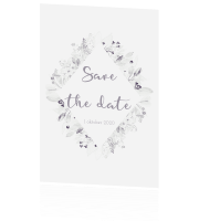 Save the date kaart uit de huisstijl whimsical white