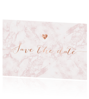 Save the date kaart huisstijl Blush Marble