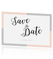 Save the date kaart in trouwhuisstijl modern peach grey