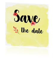 Save the date Trouwkaart rode en gele bloemen