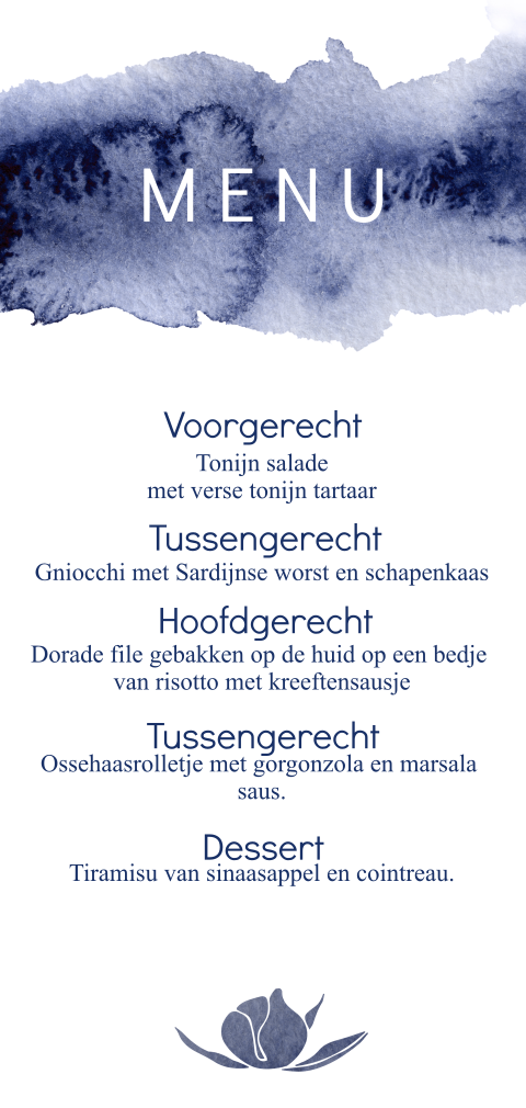 Menukaart trouwkaarten huisstijl blue wedding